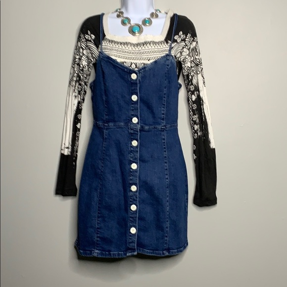 Zara Dresses & Skirts - Zara TRF Denim Blue White Button Dress L C2 0041